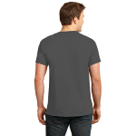 Dk Hthr Grey Port & Company 5.4-oz 100% Cotton T-Shirt as seen from the back