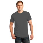 Dk Hthr Grey Port & Company 5.4-oz 100% Cotton T-Shirt as seen from the front