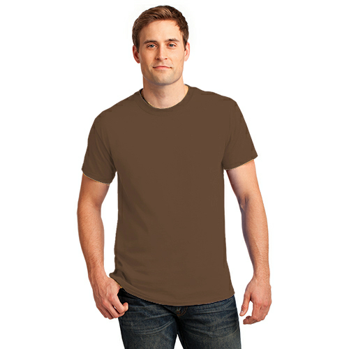 Hthr Dk Ch Brn Port & Company 5.4-oz 100% Cotton T-Shirt as seen from the front