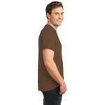 Hthr Dk Ch Brn Port & Company 5.4-oz 100% Cotton T-Shirt as seen from the sleeveright