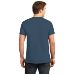 Hthr Navy Port & Company 5.4-oz 100% Cotton T-Shirt as seen from the back