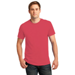 Hthr Red Port & Company 5.4-oz 100% Cotton T-Shirt as seen from the front