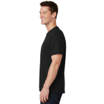 Jet Black Port & Company 5.4-oz 100% Cotton T-Shirt as seen from the sleeveleft