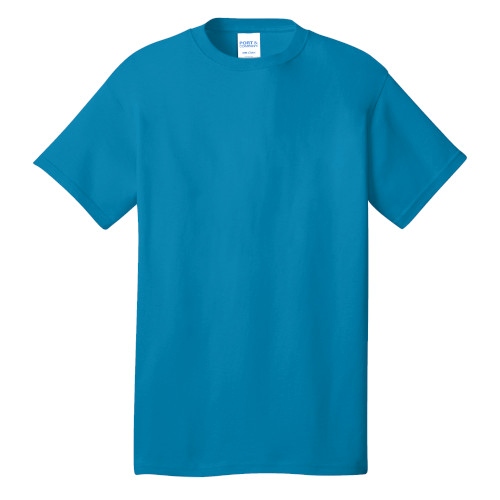 Neon Blue Port & Company 5.4-oz 100% Cotton T-Shirt as seen from the front