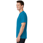 Neon Blue Port & Company 5.4-oz 100% Cotton T-Shirt as seen from the sleeveleft