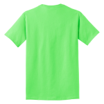Neon Green Port & Company 5.4-oz 100% Cotton T-Shirt as seen from the back