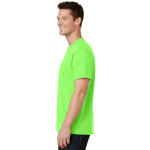 Neon Green Port & Company 5.4-oz 100% Cotton T-Shirt as seen from the sleeveleft