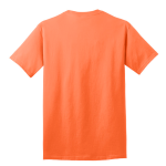 Neon Orange Port & Company 5.4-oz 100% Cotton T-Shirt as seen from the back