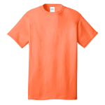 Neon Orange Port & Company 5.4-oz 100% Cotton T-Shirt as seen from the front