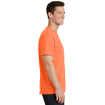 Neon Orange Port & Company 5.4-oz 100% Cotton T-Shirt as seen from the sleeveright
