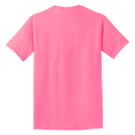 Neon Pink Port & Company 5.4-oz 100% Cotton T-Shirt as seen from the back