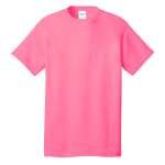 Neon Pink Port & Company 5.4-oz 100% Cotton T-Shirt as seen from the front