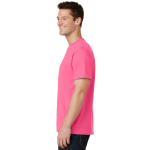 Neon Pink Port & Company 5.4-oz 100% Cotton T-Shirt as seen from the sleeveleft