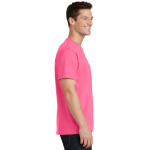 Neon Pink Port & Company 5.4-oz 100% Cotton T-Shirt as seen from the sleeveright