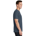 Steel Blue Port & Company 5.4-oz 100% Cotton T-Shirt as seen from the sleeveright