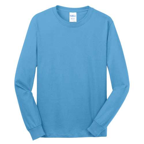 Aquatic Blue Port & Company Long Sleeve 5.4-oz. 100% Cotton T-Shirt as seen from the front