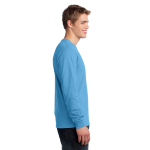 Aquatic Blue Port & Company Long Sleeve 5.4-oz. 100% Cotton T-Shirt as seen from the sleeveright