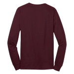 Ath Maroon Port & Company Long Sleeve 5.4-oz. 100% Cotton T-Shirt as seen from the back