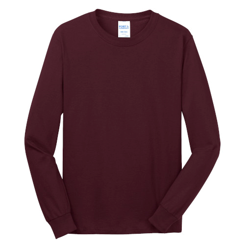 Ath Maroon Port & Company Long Sleeve 5.4-oz. 100% Cotton T-Shirt as seen from the front