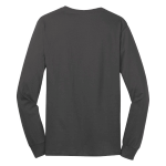 Charcoal Port & Company Long Sleeve 5.4-oz. 100% Cotton T-Shirt as seen from the back