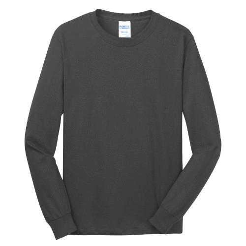 Charcoal Port & Company Long Sleeve 5.4-oz. 100% Cotton T-Shirt as seen from the front