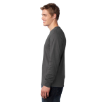 Charcoal Port & Company Long Sleeve 5.4-oz. 100% Cotton T-Shirt as seen from the sleeveleft