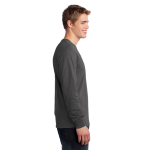 Charcoal Port & Company Long Sleeve 5.4-oz. 100% Cotton T-Shirt as seen from the sleeveright