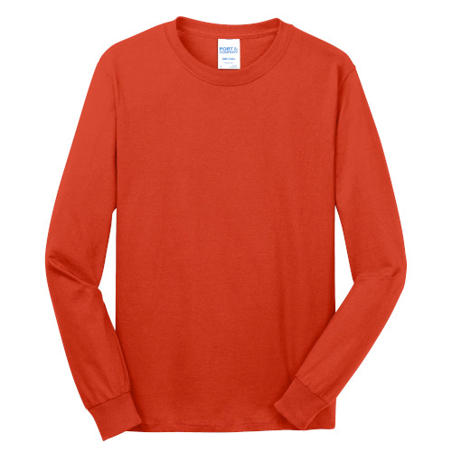 Orange Port & Company Long Sleeve 5.4-oz. 100% Cotton T-Shirt as seen from the front