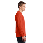 Orange Port & Company Long Sleeve 5.4-oz. 100% Cotton T-Shirt as seen from the sleeveright