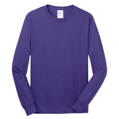 Purple Port & Company Long Sleeve 5.4-oz. 100% Cotton T-Shirt as seen from the front