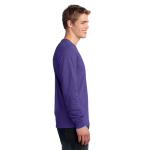 Purple Port & Company Long Sleeve 5.4-oz. 100% Cotton T-Shirt as seen from the sleeveright