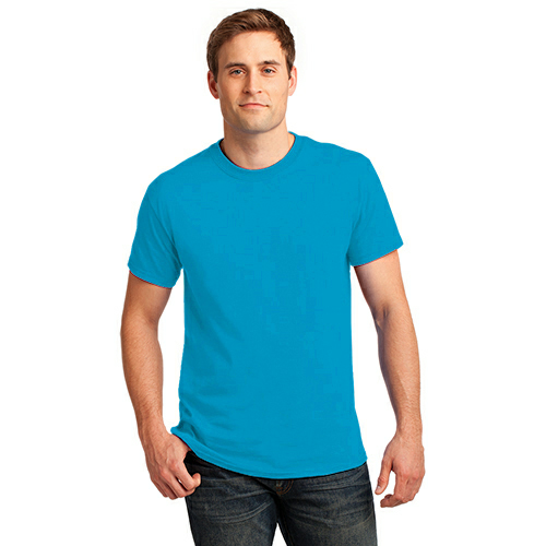 Neon Blue Port & Company 5.4-oz Neon T-Shirt as seen from the front