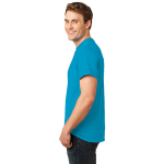 Neon Blue Port & Company 5.4-oz Neon T-Shirt as seen from the sleeveleft