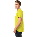 Neon Yellow Port & Company 5.4-oz Neon T-Shirt as seen from the sleeveleft