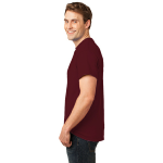 Ath. Maroon Port & Company Essential T-Shirt as seen from the sleeveleft