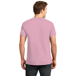 Candy Pink Port & Company Essential T-Shirt as seen from the back