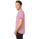 Candy Pink Port & Company Essential T-Shirt as seen from the sleeveleft