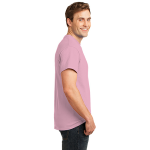 Candy Pink Port & Company Essential T-Shirt as seen from the sleeveright