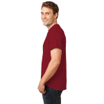 Cardinal Port & Company Essential T-Shirt as seen from the sleeveleft