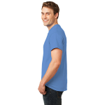 Carolina Blue Port & Company Essential T-Shirt as seen from the sleeveleft