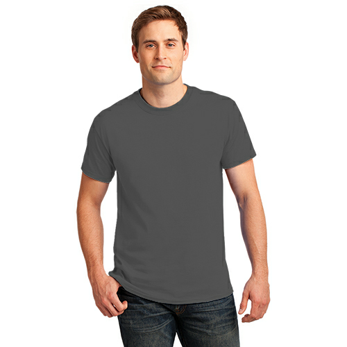 Charcoal Port & Company Essential T-Shirt as seen from the front