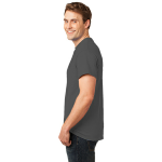 Charcoal Port & Company Essential T-Shirt as seen from the sleeveleft