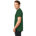 Dark Green Port & Company Essential T-Shirt as seen from the sleeveleft