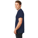 Deep Navy Port & Company Essential T-Shirt as seen from the sleeveleft