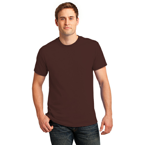 Dk Choc. Brown Port & Company Essential T-Shirt as seen from the front