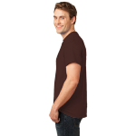 Dk Choc. Brown Port & Company Essential T-Shirt as seen from the sleeveleft