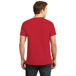 Fiery Red Port & Company Essential T-Shirt as seen from the back