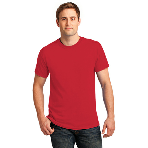 Fiery Red Port & Company Essential T-Shirt as seen from the front