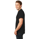 Jet Black Port & Company Essential T-Shirt as seen from the sleeveleft