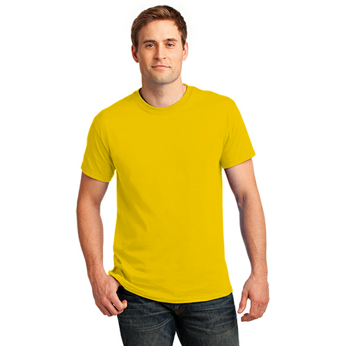 Lemon Yellow Port & Company Essential T-Shirt as seen from the front